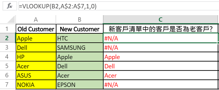 excel vlookup new client and old client table.