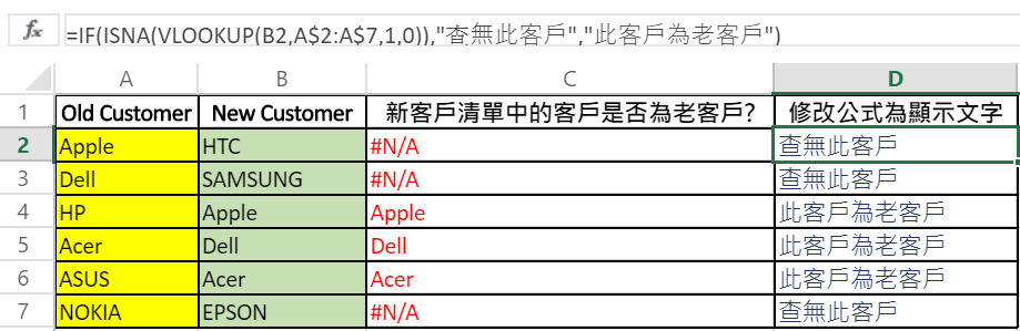 excel vlookup new client and old client table + vlookup公式